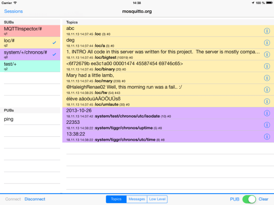 MQTT Inspector on iPad (source: http://jpmens.net/2013/11/19/mqtt-inspector-for-ios/)