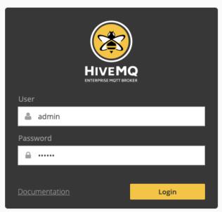 HiveMQ Control Center Login Dialog