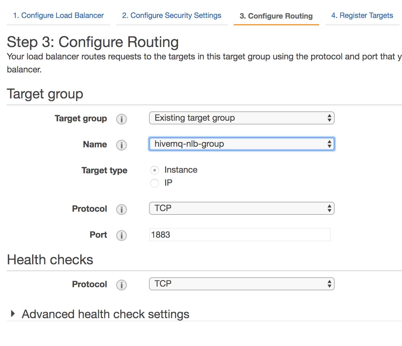 Create target group