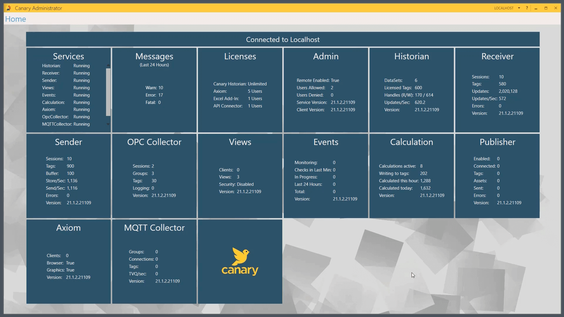 Setting up Canary Administrator and MQTT Collector