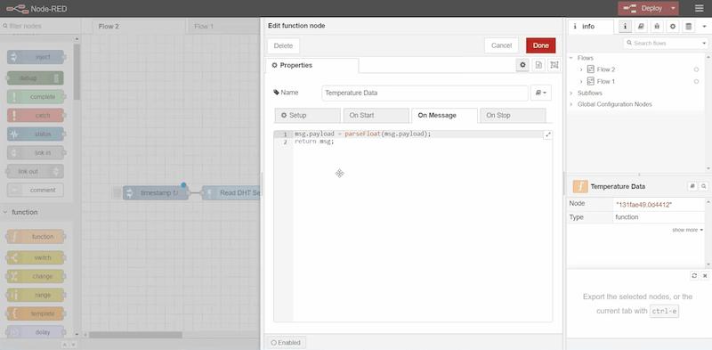 Edit Function node on Node-Red