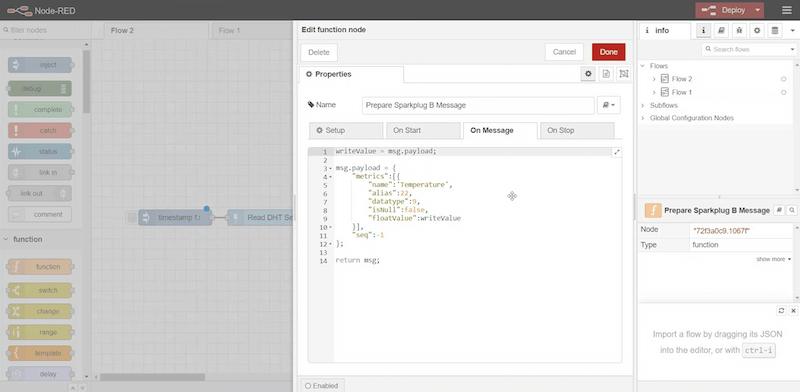 code for creating an MQTT Sparkplug object on Node-Red