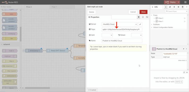 Adding the Sparkplug B topic namespace