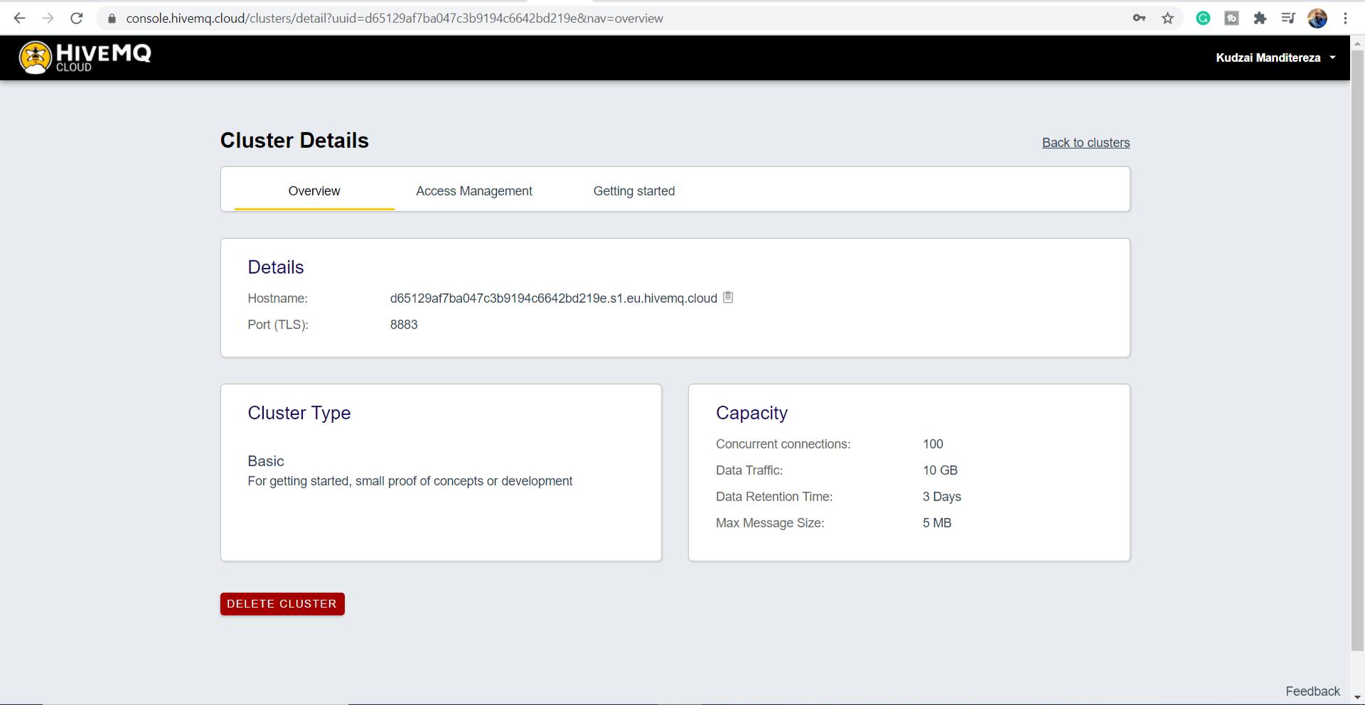 HiveMQ Cloud Cluster Details