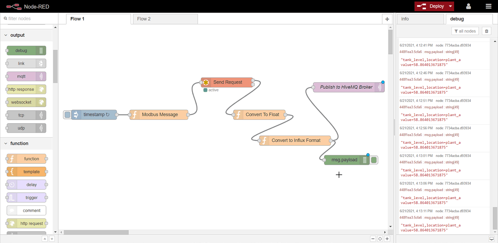 Node-Red Connect Output