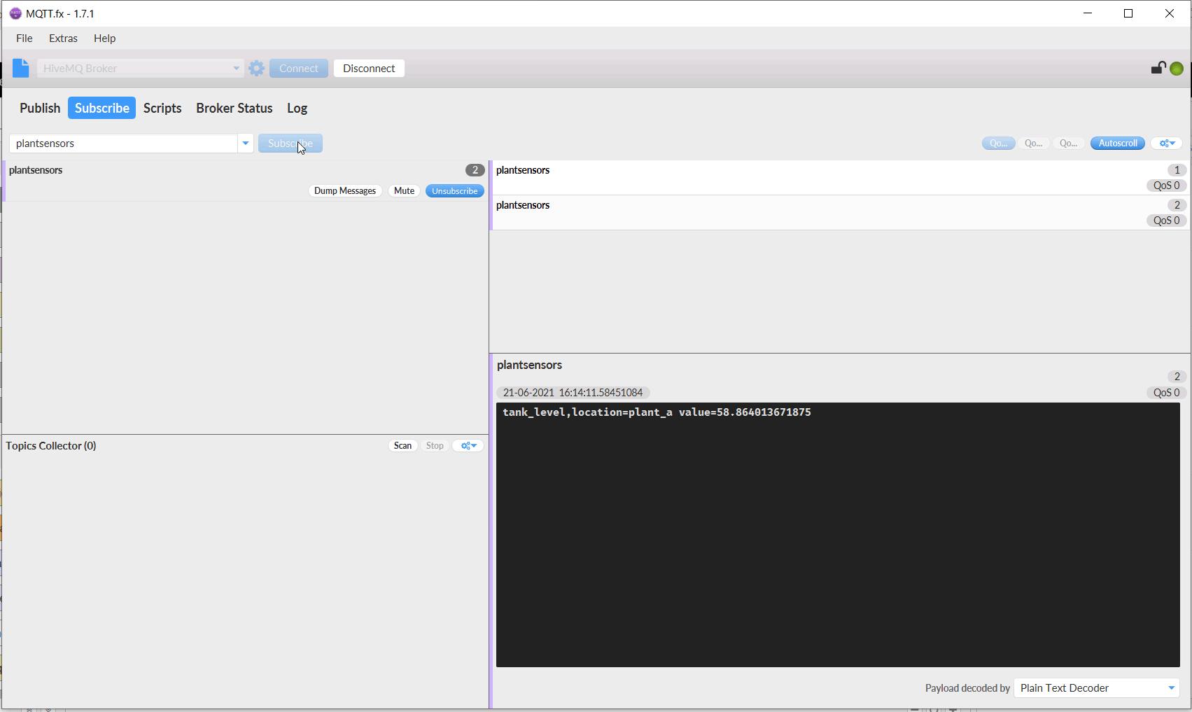 MQTT.fx Message Output