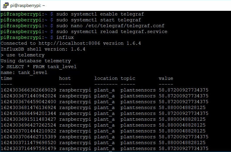 Logging the telemetry data to InfluxDB