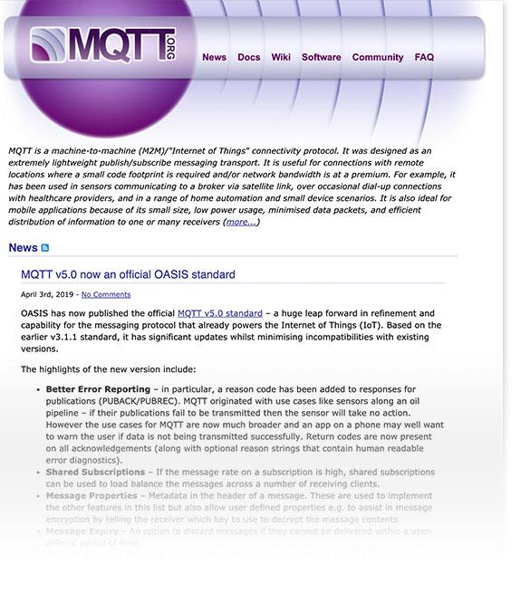 Screenshot of old MQTT.org Website